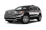 Stock pictures of low aggressive front three quarter view of 2017 GMC Acadia SLT-1-FWD 5 Door SUV Low Aggressive