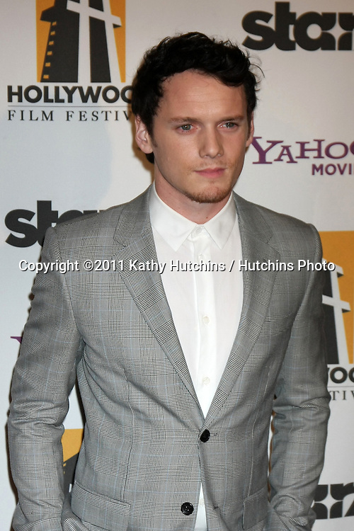 LOS ANGELES - OCT 24:  Anton Yelchin arriving at the 15th Annual Hollywood Film Awards Gala at Beverly Hilton Hotel on October 24, 2011 in Beverly Hllls, CA