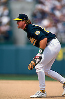 OAKLAND, CA - Mark McGwire of the Oakland Athletics in action during a game against the New York Yankees at the Oakland Coliseum in Oakland, California in 1996. Photo by Brad Mangin