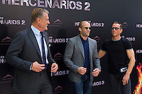 08.08.2012. Presentation at the Hotel Ritz in Madrid of the film ´The Expendables 2´. Directed by Simon West and starring by  Bruce Willis, Jean-Claude Van Damme  , Sylvester Stallone, Jason Statham, Jet Li, Dolph Lundgren, Randy Couture, Terry Crews and Liam Hemsworth. In the image (L-R) Dolph Lundgren, Jason Statham and Jean-Claude Van Damme (Alterphotos/Marta Gonzalez) / NortePhoto.com<br />