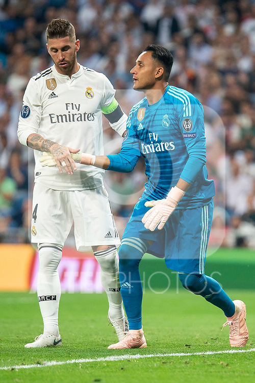 Real Madrid Sergio Ramos and Keylor Navas during UEFA Champions League match between Real Madrid and A.S.Roma at Santiago Bernabeu Stadium in Madrid, Spain. September 19, 2018. (ALTERPHOTOS/Borja B.Hojas)