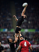 Luke Romano of New Zealand wins the ball at a lineout. Rugby World Cup Pool C match between New Zealand and Tonga on October 9, 2015 at St James' Park in Newcastle, England. Photo by: Patrick Khachfe / Onside Images