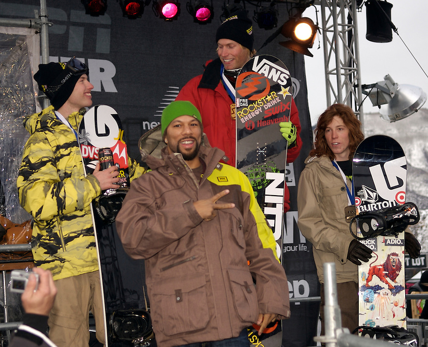 Rapper Common poses with Snowboard Slopestyle Gold Medalist Andreas Wiig, Silver Medalist Jussi Oksanen, and Bronze Medalist Shaun White at the 2007 ESPN Winter X Games 11 in Aspen, Colorado