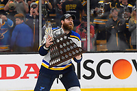 June 12, 2019: St. Louis Blues center Ryan O'Reilly (90) skates away with the Conn Smythe Trophy at game 7 of the NHL Stanley Cup Finals between the St Louis Blues and the Boston Bruins held at TD Garden, in Boston, Mass. The Saint Louis Blues defeat the Boston Bruins 4-1 in game 7 to win the 2019 Stanley Cup Championship.  Eric Canha/CSM
