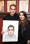Ben Platt and Beanie Feldstein during the Ben Platt Sardi's Portrait unveiling at Sardi's on May 30, 2017 in New York City.