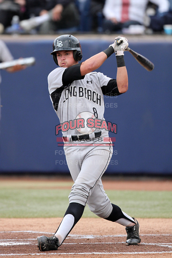 Mike Marjama #8 of the Long Beach St. 49'ers bats against the Cal. St. Fullerton Titans at Goodwin Field in Fullerton,California on May 14, 2011. Photo by Larry Goren/Four Seam Images