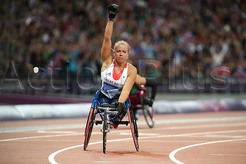 31.08.2012 London, England. Hannah Cockroft (GBR) celebrates after winning the Women's 100m - T34 in Day 2 of the London Paralympics from the Olympic Stadium.