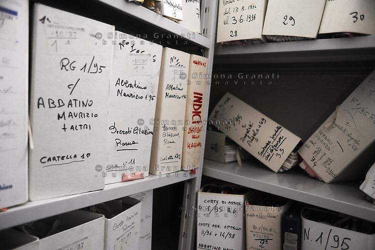 Roma, Maggio 2011.Archivio Giudiziario della corte D'Assise.Le Carte relative ai processi alla Banda della Magliana