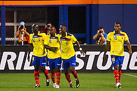 Jaime Ayovi (17) of Ecuador celebrates scoring with Segundo Castillo (14) and Narciso Mina (8). Ecuador defeated Chile 3-0 during an international friendly at Citi Field in Flushing, NY, on August 15, 2012.