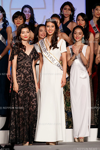 (L to R) Miss Universe Japan 2016 Sari Nakazawa and Miss Universe Japan 2017 winner Momoko Abe, pose during the Miss Universe Japan competition at Hotel Chinzanso Tokyo on July 4, 2017, Tokyo, Japan. Momoko Abe from Chiba who won the title will represent Japan in the next Miss Universe competition. (Photo by Rodrigo Reyes Marin/AFLO)
