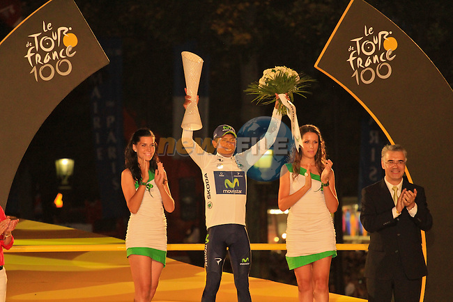 Nairo Alexander Quintana (COL) Team Movistar also wins the best Young Rider's White Jersey at the end of the Final Stage 21 of the 100th Edition of the 2013 Tour de France from Versailes to Paris Champs-Elysees. 21st July 2013.<br /> (Photo:Thomas van Bracht / Peloton Photos/www.newsfile.ie)