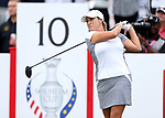DES MOINES, IA - AUGUST 19: USA's Cristie Kerr watches her tee shot on the 10th hole during Saturday morning's foursomes match at the 2017 Solheim Cup in Des Moines, IA. (Photo by Dave Eggen/Inertia)
