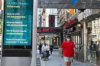 New York, New York City, during the time of the Coronavirus. Protection signs are posted throughout the city.