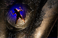 NEW YORK - OCT 3: Cast members of Fuerzabruta rehearse at the Daryl Roth Theater on October 3, 2007, in New York City. (Photo by Landon Nordeman)