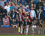 Mark Duffy of Sheffield Utd celebrates scoring the first goal during the championship match at St Andrews Stadium, Birmingham. Picture date 21st April 2018. Picture credit should read: Simon Bellis/Sportimage