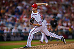 7 October 2017: Washington Nationals pitcher Ryan Madson on the mound in the second game of the NLDS against the Chicago Cubs at Nationals Park in Washington, DC. The Nationals rallied to defeat the Cubs 6-3 and even their best of five Postseason series at one game apiece. Mandatory Credit: Ed Wolfstein Photo *** RAW (NEF) Image File Available ***