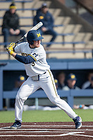 Michigan Wolverines outfielder Miles Lewis (3) at bat against the Western Michigan Broncos on March 18, 2019 in the NCAA baseball game at Ray Fisher Stadium in Ann Arbor, Michigan. Michigan defeated Western Michigan 12-5. (Andrew Woolley/Four Seam Images)
