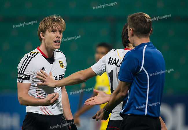 Mens Hockey World league Final Delhi 2014<br /> Day 3, 12-01-2014<br /> Indian v Germany Day 3<br /> Linus Butt<br /> Photo: Grant Treeby / treebyimages