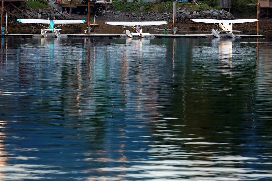 Seaplanes at dock in Sitka Harbor, Alaska, USA