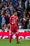 Corentin Tolisso of FC Bayern Munich celebrates as teammate James Rodriguez scores their team's second goal during the UEFA Champions League Semi-final 2nd leg match between Real Madrid and Bayern Munich at the Estadio Santiago Bernabeu on May 01 2018 in Madrid, Spain. Photo by Diego Souto / Power Sport Images