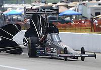 Apr 25, 2015; Baytown, TX, USA; NHRA top fuel driver Spencer Massey during qualifying for the Spring Nationals at Royal Purple Raceway. Mandatory Credit: Mark J. Rebilas-