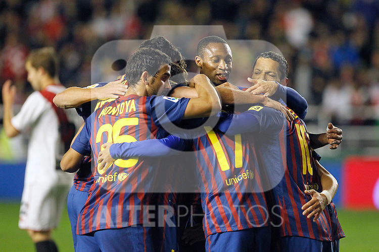 FC Barcelona's Martin Montoya, Pedro Rodriguez, Seydou Keita, Adriano Correia and Leo Messi celebrate goal during La Liga match.April 29,2012. (ALTERPHOTOS/Acero)