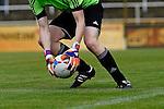 Torwart hebt den Ball in den Haenden im Spiel des VfR Mannheim - FC Germania Friedrichstal.<br /> <br /> Foto © P-I-X.org *** Foto ist honorarpflichtig! *** Auf Anfrage in hoeherer Qualitaet/Aufloesung. Belegexemplar erbeten. Veroeffentlichung ausschliesslich fuer journalistisch-publizistische Zwecke. For editorial use only.