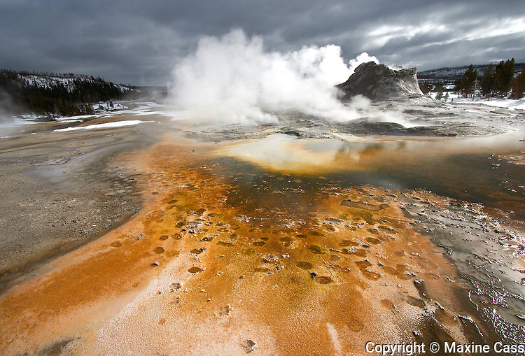 Castle Geyser steams in winter, Old Faithful Geyser Basin, Yellowstone National Park, Wyoming, United States of America