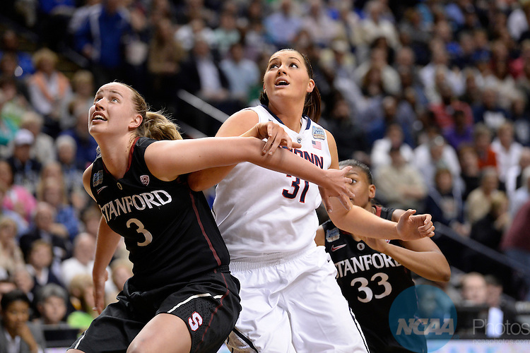 06 Apr 2014:  Stanford University forward Mikaela Ruef (3) and Stefanie Dolson (31) of the the University of Connecticut during the 2014 Division I Women's Final Four in Nashville, TN. Connecticut defeated Stanford 75-56 to move on to the National Championship.  Jamie Schwaberow/NCAA Photos