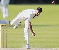 Nish Patel bowls for South Hampstead during the Middlesex County Cricket League Division Three game between North London and South Hampstead at Park Road, Crouch End on Sat June 21, 2014.