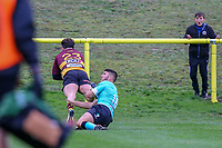 Sam Hanks of Ampthill Rugby (23) scores a try after he intercepts a kick during the Greene King IPA Championship match between Ampthill RUFC and Nottingham Rugby on Ampthill Rugby's Championship Debut at Dillingham Park, Woburn St, Ampthill, Bedford MK45 2HX, United Kingdom on 12 October 2019. Photo by David Horn.