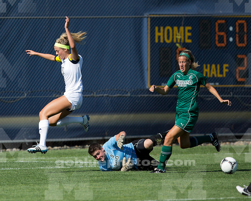 The University of Michigan women's soccer team beat Cleveland State, 5-0, at the UM Soccer Complex in Ann Arbor, Mich., on August 7, 2012.