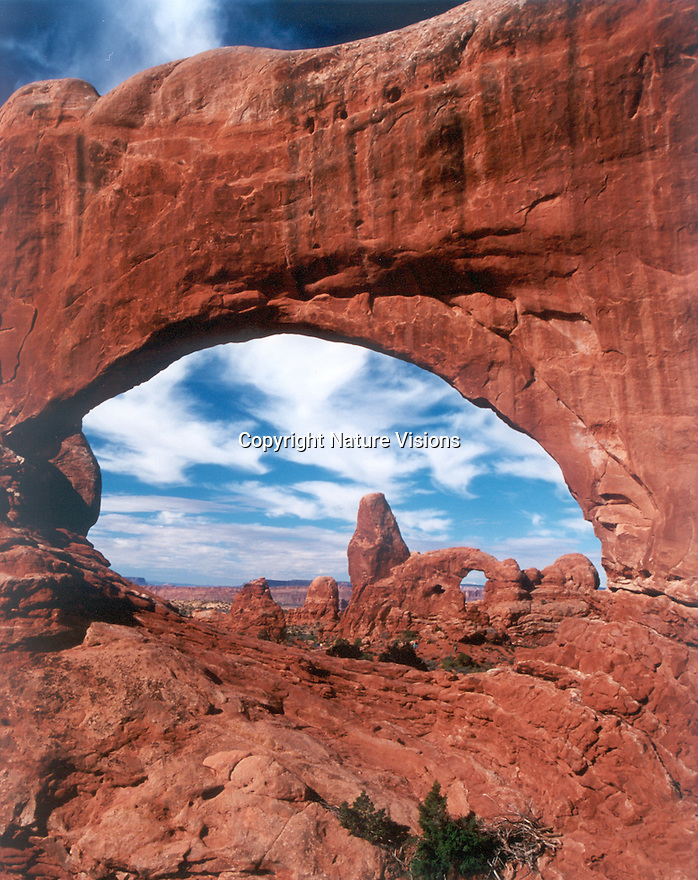 NORTH WINDOW AND TURRET ARCH<br /> ARCHES NATIONAL PARK, UTAH