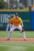 Erie SeaWolves first baseman Josh Lester (17) during an Eastern League game against the Altoona Curve and on June 4, 2019 at UPMC Park in Erie, Pennsylvania.  Altoona defeated Erie 3-0.  (Mike Janes/Four Seam Images)