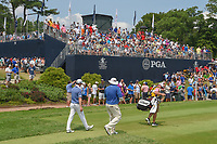 Ben Kern (USA) and Zach Johnson (USA) head down 12 during 4th round of the 100th PGA Championship at Bellerive Country Club, St. Louis, Missouri. 8/12/2018.<br /> Picture: Golffile   Ken Murray<br /> <br /> All photo usage must carry mandatory copyright credit (© Golffile   Ken Murray)