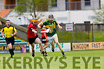 Kerry's Colm Harty gets away from Downs defence at the Kerry v Down in the Christy Ring Cup Round 1 at Austin Stack Park on Saturday