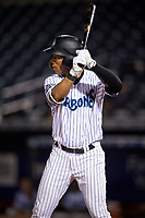 Tampa Tarpons center fielder Dom Thompson-Williams (21) at bat during the second game of a doubleheader against the Lakeland Flying Tigers on May 31, 2018 at George M. Steinbrenner Field in Tampa, Florida.  Lakeland defeated Tampa 3-2.  (Mike Janes/Four Seam Images)