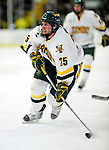 12 December 2009: University of Vermont Catamount forward Jonathan Higgins, a Senior from Stratham, NH, in action against the St. Lawrence University Saints at Gutterson Fieldhouse in Burlington, Vermont. The Catamounts shut out their former ECAC rival Saints 3-0. Mandatory Credit: Ed Wolfstein Photo