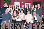 50TH: Aileen O'Mahony of Rahoonane who celebrated her 50th Birthday in O'Donnells Bar and Restaurant, Mounthawk on Saturday night with family and friends. Sreated l-r: Joe Griffin,Theresa O'Sullivan, Aileen O'Mahony (Birthday lady), Liz Griffin and Ger Griffin. Back l-r: Jamie and Jennifer Buckley, Shani Lonergan, Becky O'Sullivan,Michael and Sean O'Mahony, Tara O'Sullivan, Luke and Anthony O'Sullivan.Brenda, daughter of Mary and Con Scanlon, Glenoe, Listowel, and Johnny, son of Eileen and Moss Hannon, Ballyconnell, Kilflynn, who were married on Saturday at Our Lady of Fatima/St Sinens Church, by Fr Mossie Brick. Best man was Matt Hannon,Jeremy Hannon,Maurice McElligott and Joseph Scanlon. Bridesmaids were Ann Marie Scanlon,Maura O'Connell,Fiona Hannon and Claire Quilter. Flowergirls were Claire O'Connell and Aoibhe Linnane. Pageboy was Bobby O'Connell. The reception was held at Ballygarry House Hotel & Spa, Tralee. The couple will reside Kilflynn .MARKING: Marking their cards at the New Castlewest Hospice Foundation at the Dogs at the Kingdom Greyhound Stadium, Tralee on saturday night.l-r: Susan Aherne,Mary Barrett,Dolores Keane and Rose Dooley(Newcastlewest) .DINNER; out for dinner at the Kingdom Greyhound Stadium, Tralee on Saturday night and supporting the New Castlewest Hospice Foundation night at the dogs. l-r: John O'Flynn,Geraldine and Tom Cantillon and Karen O'Sullivan. .PAL: Paul Mahony(Athea),Craig Moriarty (Abbeydorney) and Fiona?n Mackessy(Tralee) great pal at the New Castlewest Hospice Foundation night at the Dog at the Kingdom Greyhound Stadium, Tralee on Saturday night. .SUPPORTING: Supporting the New Castlewest Hospice Foundation night at the dogs. Front l-r: Linda Butler(Ballymacelligott),Mairead Jones and Peg Hough (New Castlewest). back l-r: Aidan Butler(Ballymacelligott), Pat Dalton,Des Hough and Steve Jones (New Castlewest). .SMILES: On to a winner at the New Castlewest Hospice Foundation fundraising night at the Kingdom Greyhound Stadioum, Tr