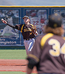 Galena shortstop Andrew West makes the throw to first baseman Austin Wickham in the NIAA Division I Northern Region Baseball Championship between the Galena Grizzlies and the Reno Huskies played on Saturday, May 14, 2016 at Peccole Park in Reno, Nevada.