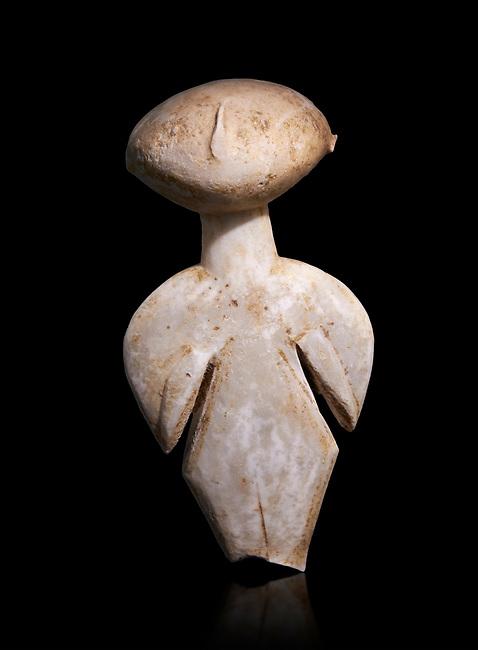 Ancient Greek Cycladic figurine, Kilia type ('stargazer'). Kilia, Gallipoli, Turkey, Circa 4360-3500 BC. Museum of Cycladic Art Athens,   Against black