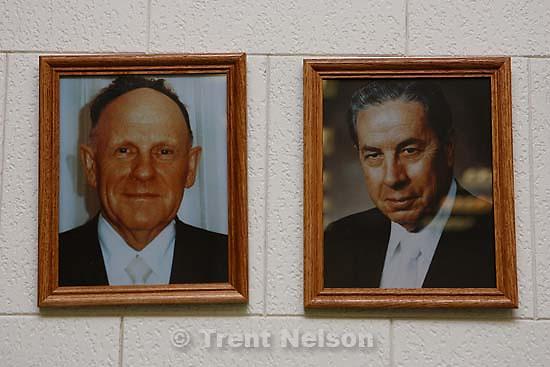Polygamist Winston Blackmore in Bountiful, British Columbia. fundamentalist leaders' portraits in winston's new church<br />