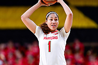 College Park, MD - NOV 29, 2017: Maryland Terrapins forward Shakira Austin (1) in action during ACC/Big Ten Challenge game between Gerogia Tech and the No. 7 ranked Maryland Terrapins. Maryland defeated The Yellow Jackets 67-54 at the XFINITY Center in College Park, MD.  (Photo by Phil Peters/Media Images International)
