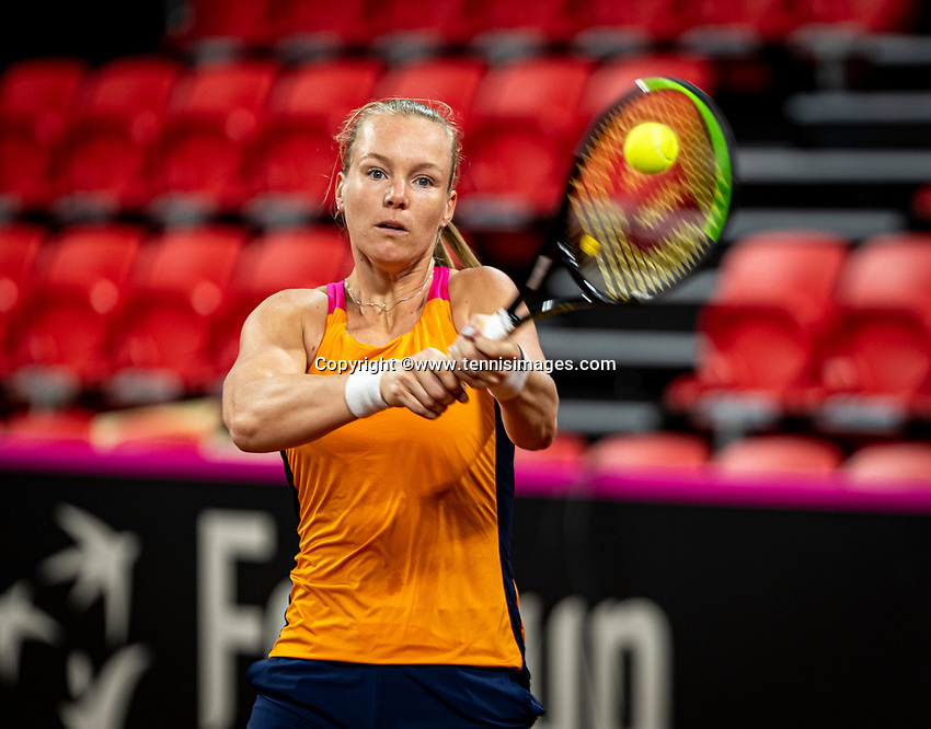 The Hague, The Netherlands, Februari 4, 2020,  Sportcampus , FedCup  Netherlands - Balarus, Dutch team practise, Kiki Bertens<br /> Photo: Tennisimages/Henk Koster