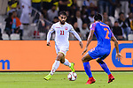 Ali Jaafar Madan of Bahrain (L) is tackled by Salam Ranjan Singh of India during the AFC Asian Cup UAE 2019 Group A match between India (IND) and Bahrain (BHR) at Sharjah Stadium on 14 January 2019 in Sharjah, United Arab Emirates. Photo by Marcio Rodrigo Machado / Power Sport Images