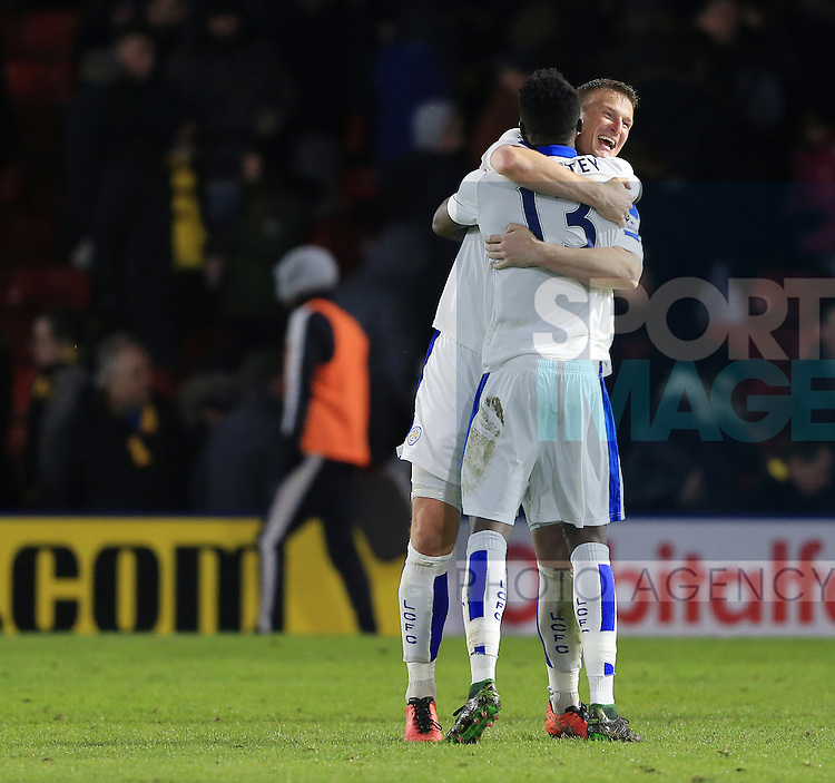 Leicester City's Robert Huth celebrates at the final whistle with Daniel Amartey<br /> <br /> - English Premier League - Watford vs Leicester City  - Vicarage Road - London - England - 5th March 2016 - Pic David Klein/Sportimage