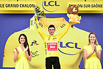 Race leader Giulio Ciccone (ITA) Trek-Segafredo retains the Yellow Jersey at the end of Stage 7 of the 2019 Tour de France running 230km from Belfort to Chalon-sur-Saone, France. 12th July 2019.<br /> Picture: ASO/Alex Broadway | Cyclefile<br /> All photos usage must carry mandatory copyright credit (© Cyclefile | ASO/Alex Broadway)