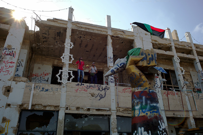Tripoli, Libya, August 26, 2011.Rebels in Khaddafi's Bab Aziziya compound..
