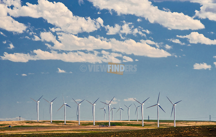 Wind turbine machines and clouds, Twin Falls county, Idaho