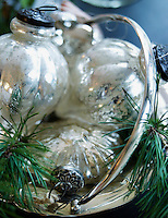 Antique style Christmas balls made of mercury glass